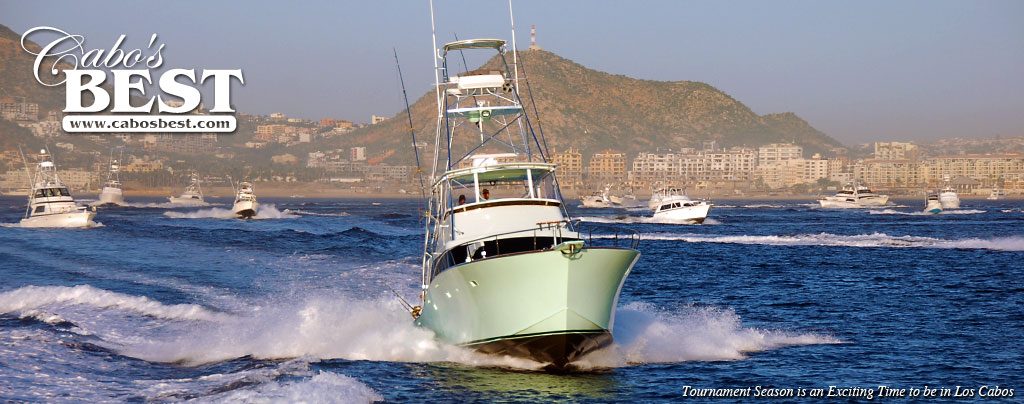 Fishing boats take off on a shotgun start at a Cabo fishing tournament