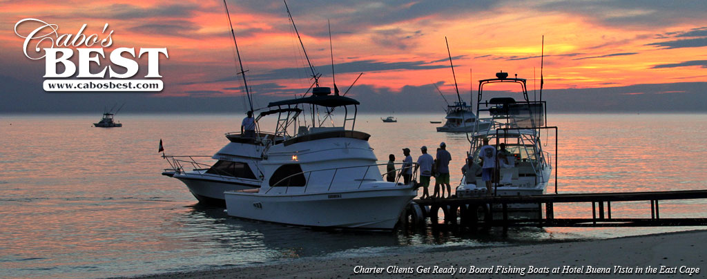 Charter fishing clients head to their boats in the East Cape of Los Cabos