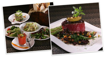 Seared Ahi tuna and assorted seafood appetizers at La Panga
