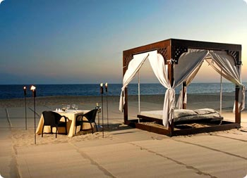 Romantic dinner on the sand at Pueblo Bonito Pacifica